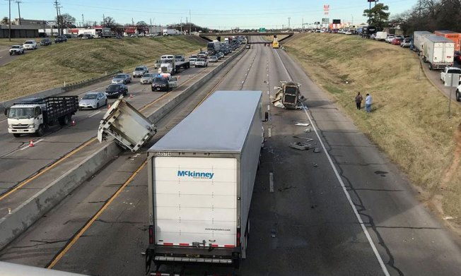 Northbound Loop 12 in Irving Reopens After 18-Wheeler Hits Overpass