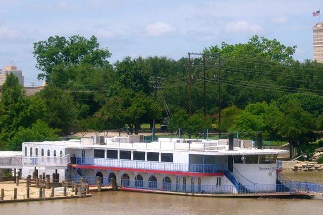 Water-Logged Brazos Belle Riverboat Being Scrapped