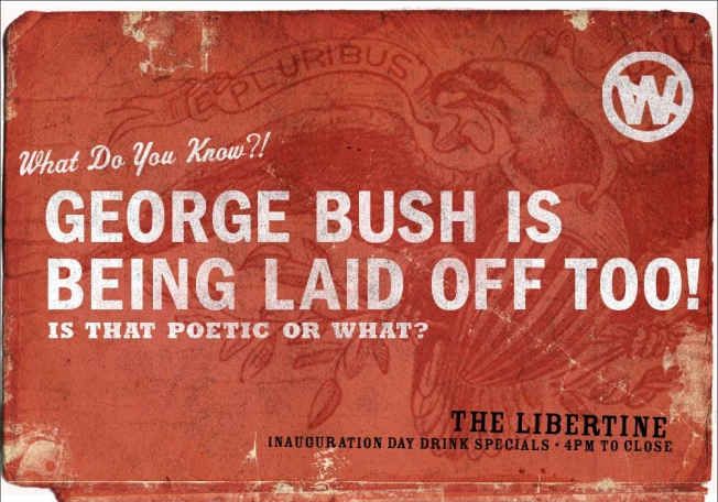Libertine Bar Offers Snarky Posters, Drink Specials for Inauguration