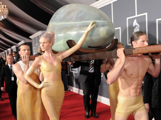 Lady Gaga Arrives at Grammys in Giant Egg