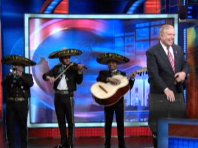 "Mariachi Band Welcomes Lou Dobbs to ""Daily Show"""