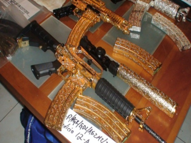 Mexican Feds Seize Druglord's Golden Guns