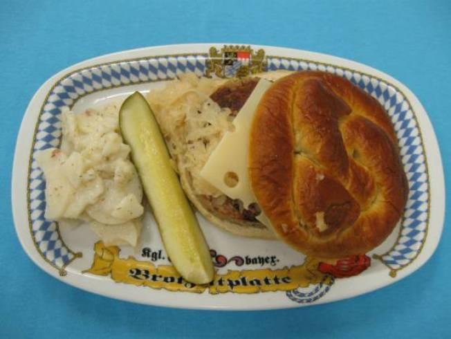 Oktoberfest Bratwurst Burger on Pretzel Bun