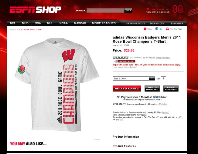 ESPN Selling Wisconsin Rose Bowl Champion Shirt