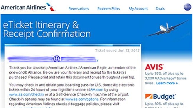 American Airlines Says Email is Phishing Scam