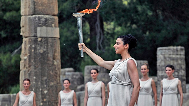 Olympic Torch Is Lit in Greece