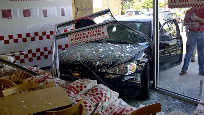 Car Crashes Into Five Guys in Fort Worth