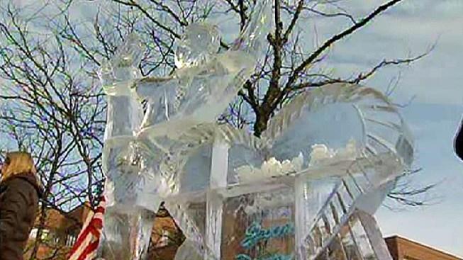 Illinois Town Unveils Jason Brown Ice Sculpture