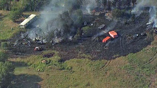 Firefighters Battle Brush Fire in Krum