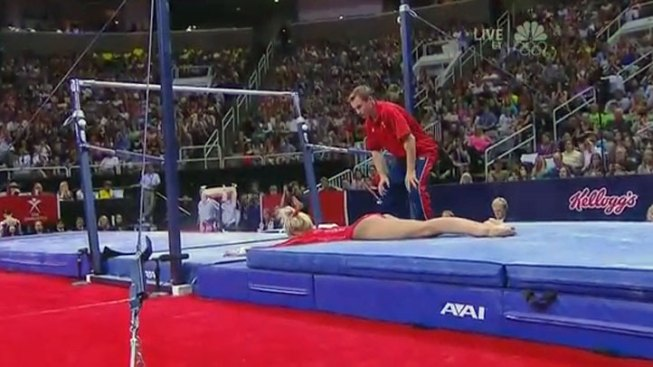 Nastia Liukin Falls During Uneven Bars Routine at Olympic Trials Finals