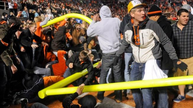Fans Hurt When Storming Okla. St. Field