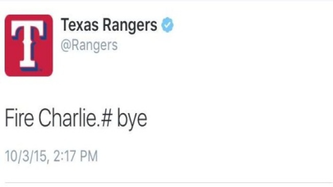 Rangers Dismiss Staffer for Tweeting 'Fire Charlie'