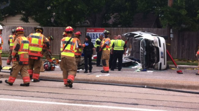 Van Rolls, Injuring Seven in Arlington Crash