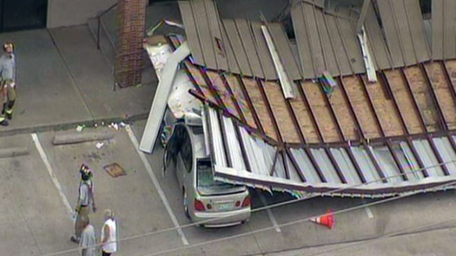 Awning Collapses, Crushes Cars in Hurst