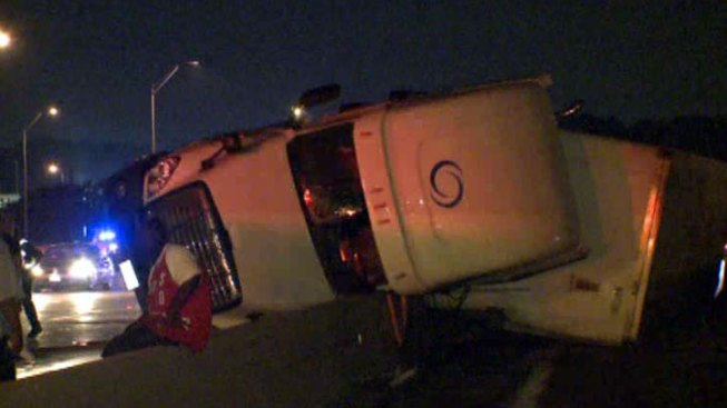 Big-Rig Rollover Closes Much of I-35E South of Downtown
