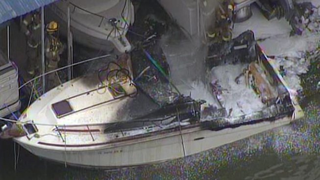 Boat Catches Fire at Lake Ray Hubbard
