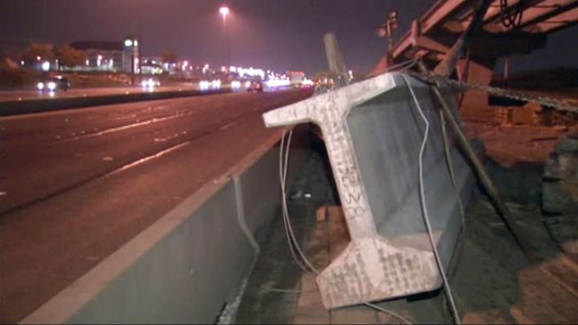 Crane Collapses, Beam Narrowly Misses Highway