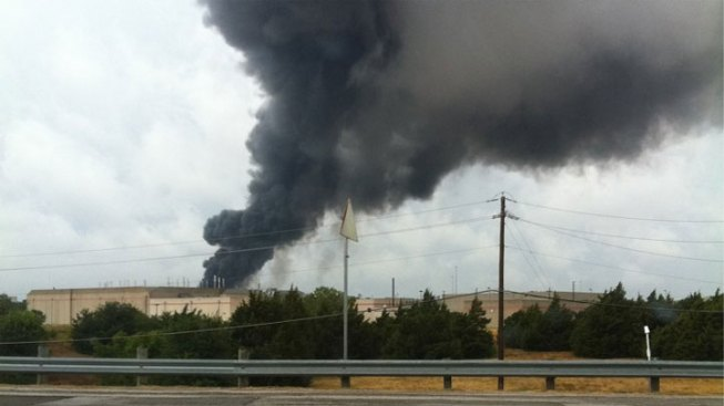 Firefighters Battle Blaze at Dallas Pool Supply Warehouse