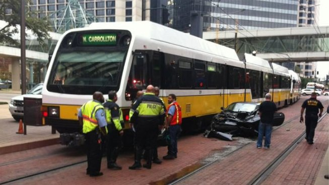 Car, DART Train Collide in Downtown, Stalling Rail Service