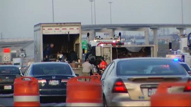FedEx Truck Overturns on Loop 820