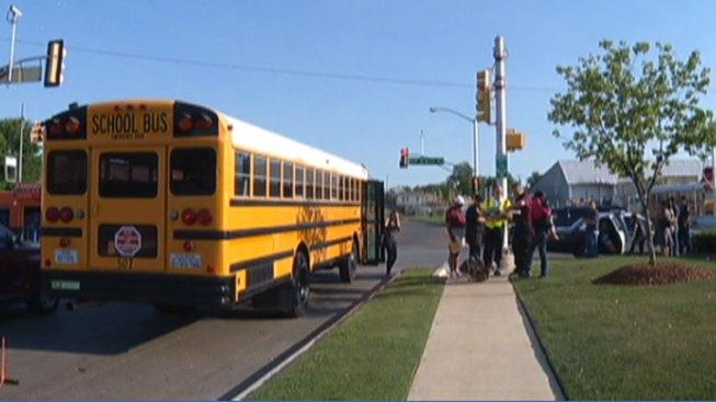 Truck Crashes, Bumps Into FWISD School Bus