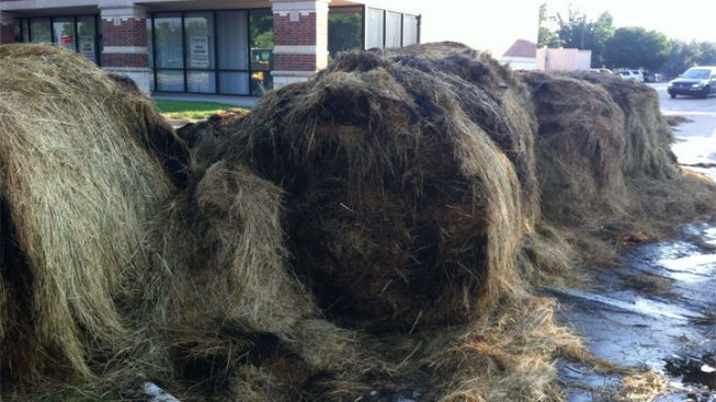 Hay Bales Dumped, Set on Fire in Arlington