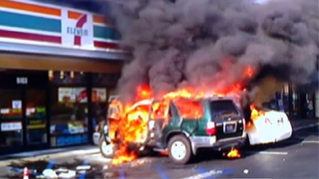 Homeless Man Allegedly Sets Man, SUV on Fire