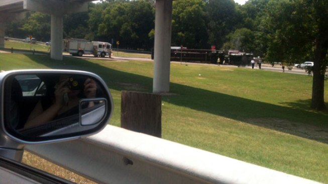Overturned Truck Backs Up I-30 Traffic at University