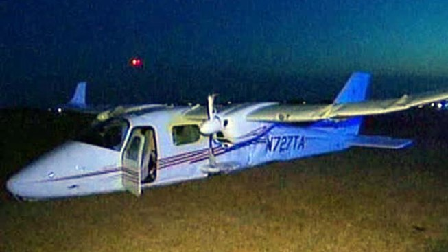 Plane Slides Off Runway After Crash in Cleburne