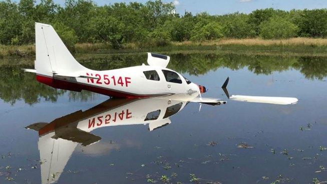Cleburne Emergency Landing Ends in Stock Pond