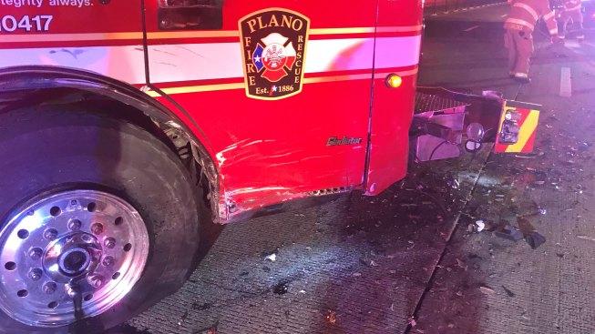 Plano Ladder Truck Struck While Blocking Crash Scene, 2 Hurt