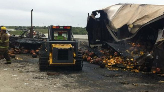 Semi Hauling Pumpkins Crashes in Ennis