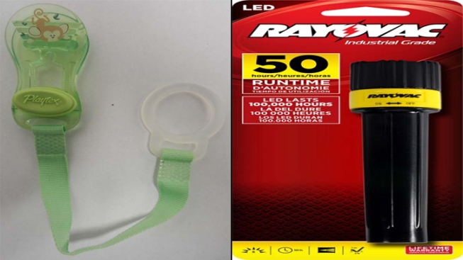 Recall Roundup: Playtex Pacifiers and Rayovac Flashlights