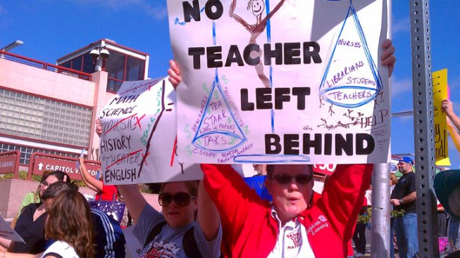 Teachers Stage Final Rally Against Cuts