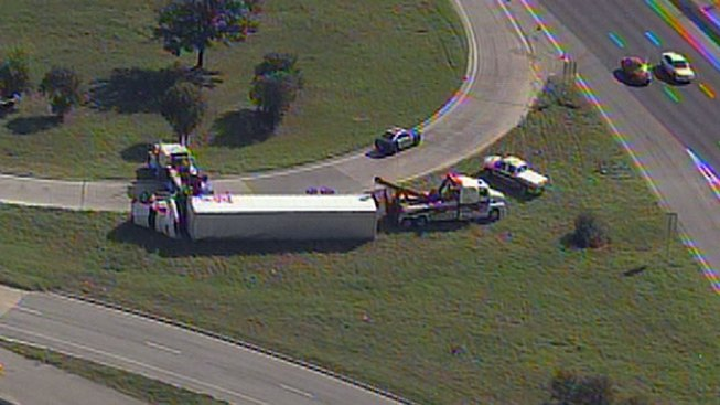 Overturned Truck Closes Loop 12, SH 183 Ramp