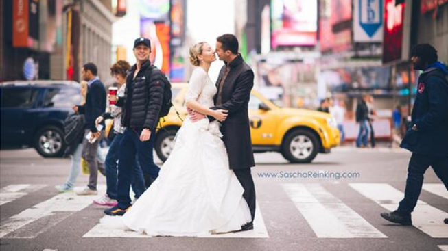 Zach Braff Photobombs Times Square Wedding Shoot