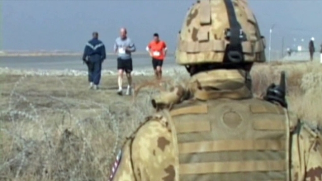 The annual Cowtown marathon was run by more than 100 troops in a first-ever satellite edition of the race on a tarmac in <a title=