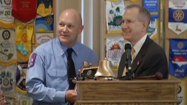 Fort Worth Fire Lt. Tommy Abercrombie was honored by the Fort Worth South Rotary Club for saving a woman and a police officer from drowning.