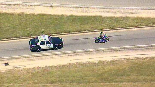 A motorcycle rider lead Fort Worth police on a chase through Fort Worth and Arlington. Police said the man was wanted on federal warrants and a parole violation and was a violent felon.