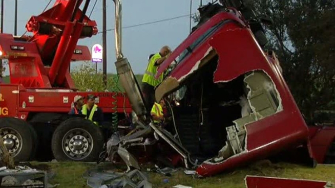 A semi-trailer crashed in a Decatur restaurant parking lot after it veered off the highway. The driver and a customer were injured in the wreck.