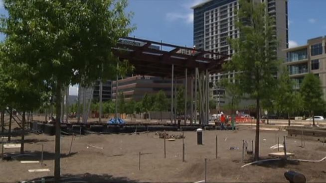 Construction on Klyde Warren Park, which extends over Dallas' Woodall Rodgers freeway, is making progress.