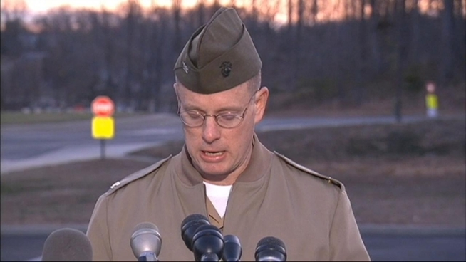 Col. David W. Maxwell holds a press conference regarding the fatal shooting of three Marines at Marine Base Quantico.