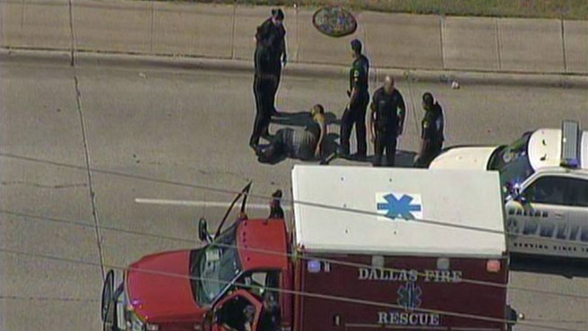 Two Dallas Police officers and a male suspect are in the hospital after a family violence call turned into a vehicle pursuit.