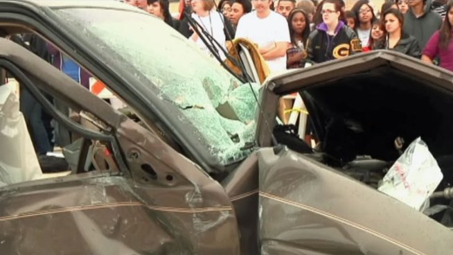 Before Garland High School students left for spring break they go an up close and graphic look at the dangers of distracted driving thanks to the Garland Fire Department.