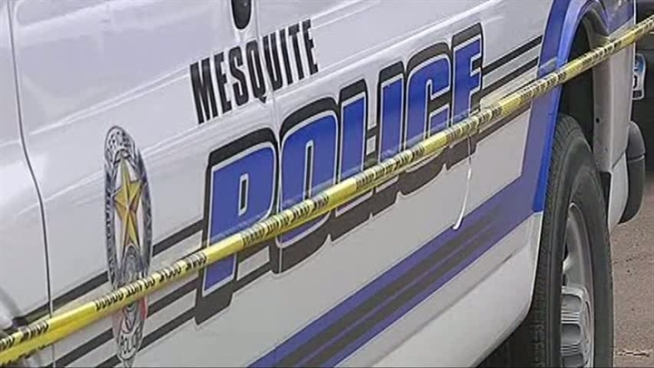 Police say a man shot a woman inside a Mesquite home when she answered the door.