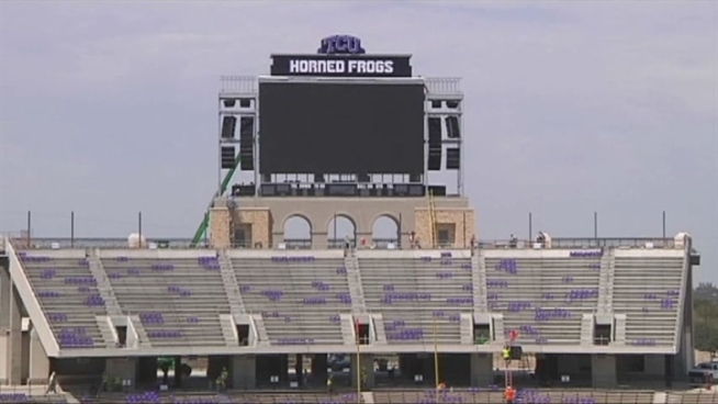 Horned Frog fans will pack Amon Carter Stadium for Saturday's home opener, and while part of the stadium is ready for football, the rest of the stadium is still a year away from completion.