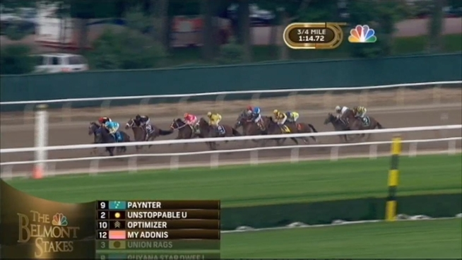 Union Rags nipped Paynter at the wire in a photo finish Saturday to win the Belmont Stake, beating a field without Triple Crown hopeful I'll Have Another, who was retired with an injury the day before.