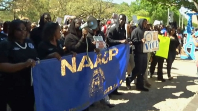 Students and citizens joined a march on the campus of the University of Texas at Arlington in support of Trayvon Martin, the unarmed Florida teen shot and killed in Florida. But the rally focused on black stereotypes.