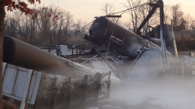 Freight Train Derails in N.J., Spills Chemicals