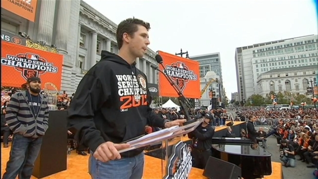 Matt Cain, Buster Posey and Sergio Romo address the fans at the Giants Celebration in downtown San Francisco on Oct 31, 2012.